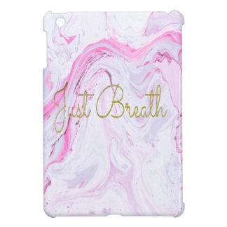 Pink Marble Just breathe design iPad Mini Cases