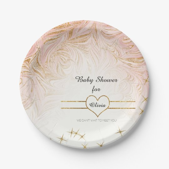 Pink Marble Marbling Girl Baby Shower Rose Gold