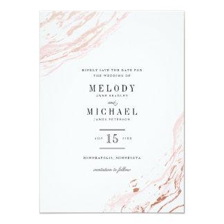 Pink Marble Modern Elegant Save the Date 13 Cm X 18 Cm Invitation Card