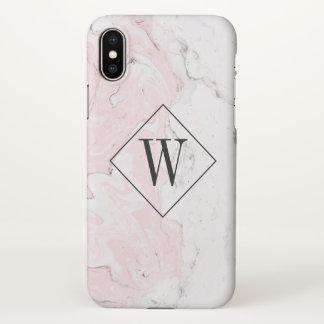 Pink Marble Monogram iPhone X Case