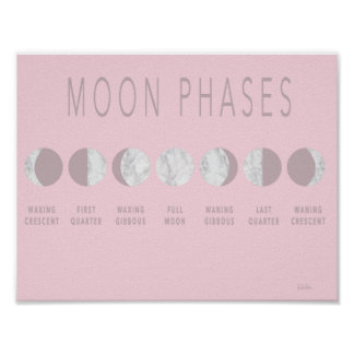 Pink Marble Moon Phases Poster