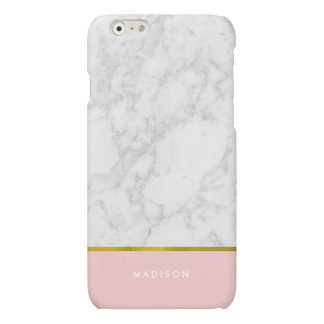 Pink Marble Pattern and Faux Gold Foil iPhone 6 Plus Case