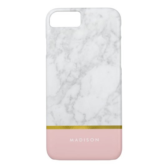 Pink Marble Pattern and Faux Gold Foil iPhone