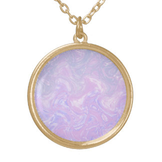 Pink Marble Swirl Gold Plated Necklace