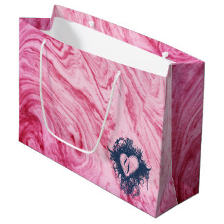 pink marble texture pattern elegant beautiful large gift bag