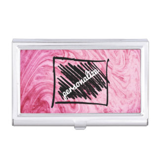 pink marble texture pattern personalize cardholder business card holder