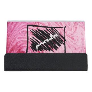 pink marble texture pattern personalize cardholder desk business card holder