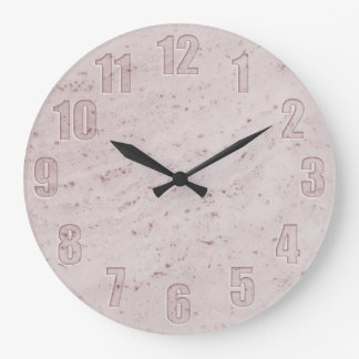 Pink marble with cut-out numbers large clock