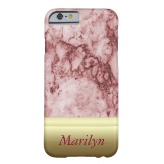 Pink Marble with golden stripes Barely There iPhone 6 Case