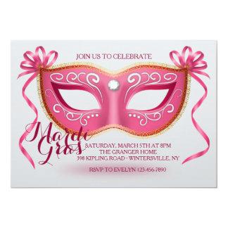 Pink Mardi Gras Mask Invitation