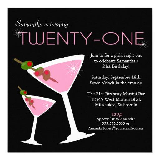 Pink Martini 21st Birthday Party Invitation