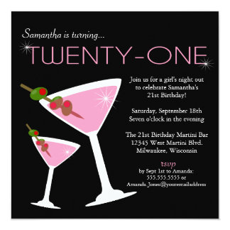 Pink Martini 21st Birthday Party Invitation