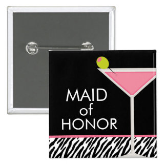 Pink Martini and Zebra Pattern 15 Cm Square Badge