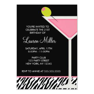 Pink Martini and Zebra Pattern Birthday Party 13 Cm X 18 Cm Invitation Card