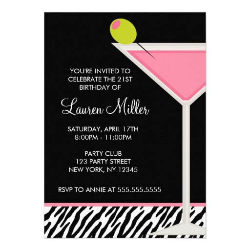 Pink Martini and Zebra Pattern Birthday Party Custom Announcement