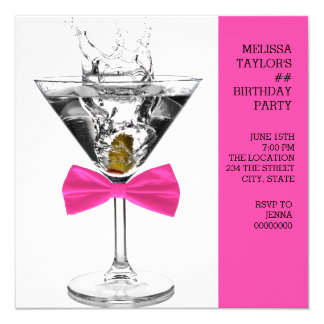 Pink Martini Birthday Party Card