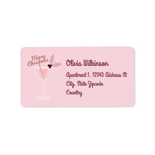 Pink Martini Christmas Address Label