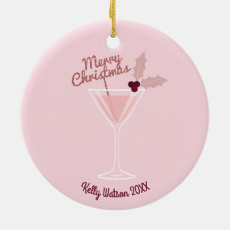 Pink Martini Christmas Round Ceramic Decoration