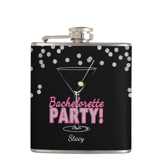Pink, Martini Glass Bachelorette Party Hip Flask