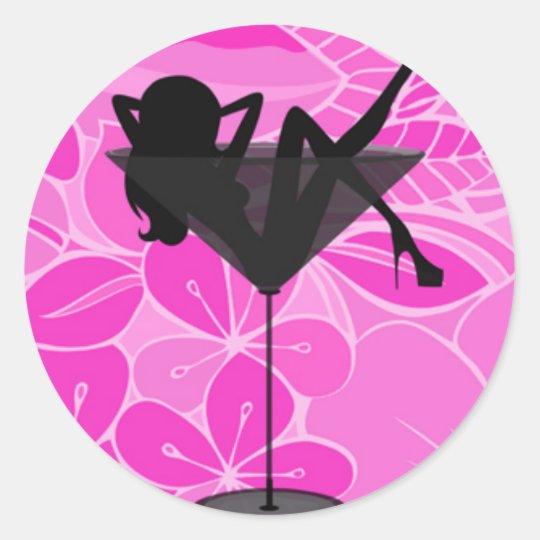 Pink martini glass girl sticker