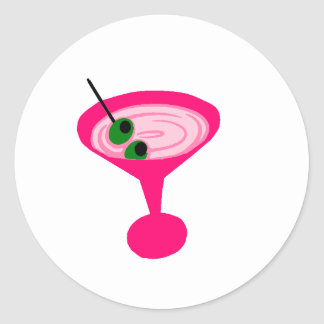 Pink Martini Round Stickers