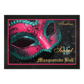 Pink  Mask Masquerade Sweet 16 Party Invitation