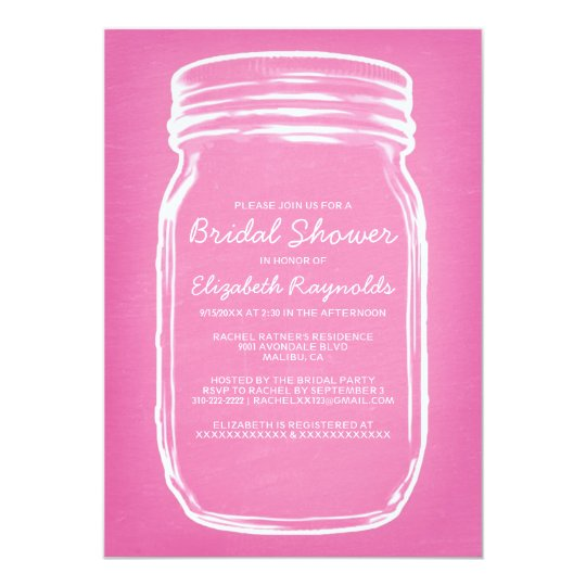 Pink Mason Jar Bridal Shower Invitations