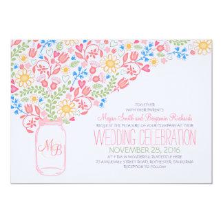 pink mason jar creative flowers wedding invitation