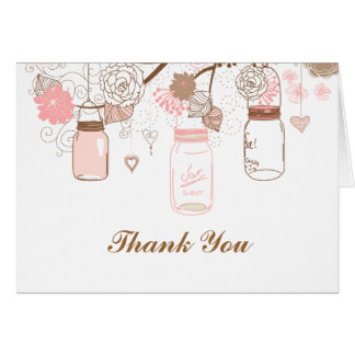 Pink Mason Jars and Love Birds Postage Card