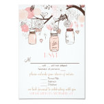 Pink Mason Jars and Love Birds RSVP Wedding Card Personalised Invites