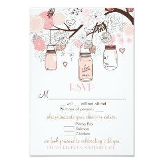 "Pink Mason Jars and Love Birds RSVP Wedding Card 3.5"" X 5"" Invitation Card"