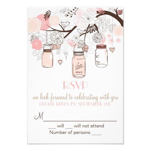 Pink Mason Jars and Love Birds RSVP Wedding Invite