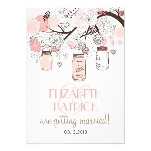 Pink Mason Jars and Love Birds Wedding Invitation