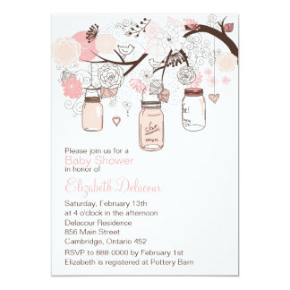 Pink Mason Jars & Lovebirds Baby Shower Invitation