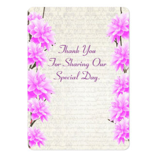 Pink mauve floral wedding favor thank you tag pack of chubby business cards