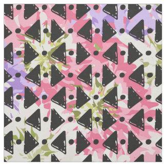 Pink mauve green black white criss cross weave fabric