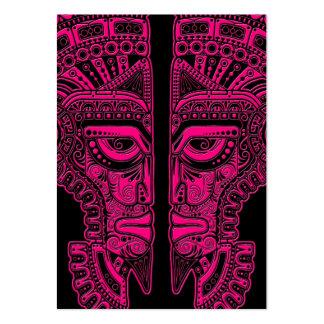 Pink Mayan Twins Mask Illusion on Black Business Card