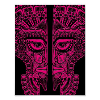 Pink Mayan Twins Mask Illusion on Black Poster