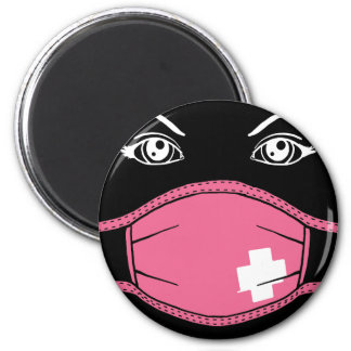 Pink Medical Mask Graphic 6 Cm Round Magnet