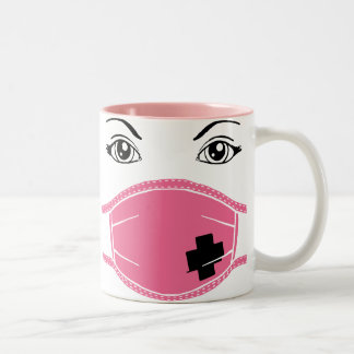 Pink Medical Mask Graphic Two-Tone Mug