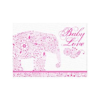Pink Mehndi  Baby  Elephant Canvas Print