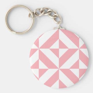 Pink Melon Geometric Deco Cube Pattern Keychains