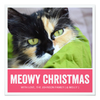 Pink Meowy Christmas - Pet Photo Holiday Cards Invite