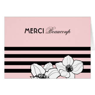 Pink Merci Beaucoup Card | French Anemone Flowers