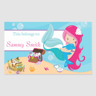 Pink Mermaid Back to School Personalized Sticker