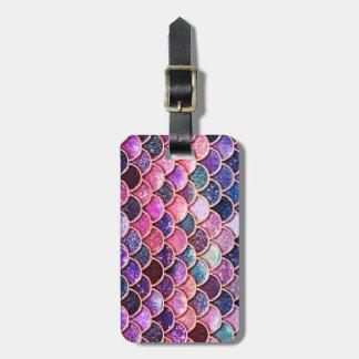 Pink Mermaid Glitter Scales- Mermaid Scales Luggage Tag