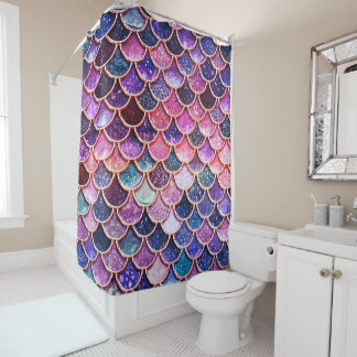 Pink Mermaid Glitter Scales- Mermaid Scales Shower Curtain