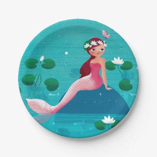 Pink Mermaid Paper Plate