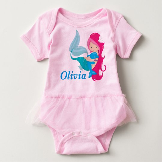 Pink Mermaid Tutu Baby Bodysuit