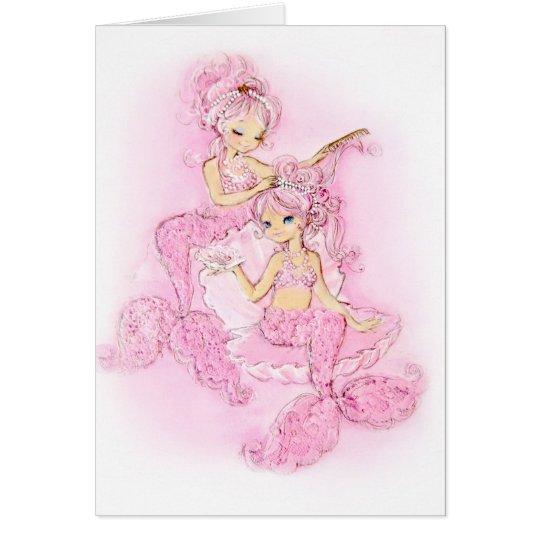 Pink Mermaids Maid of Honour Note Card